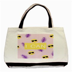 I Can Purple Face Smile Mask Tree Yellow Basic Tote Bag (Two Sides)