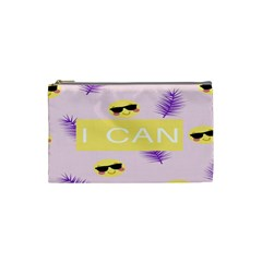 I Can Purple Face Smile Mask Tree Yellow Cosmetic Bag (Small)
