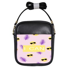 I Can Purple Face Smile Mask Tree Yellow Girls Sling Bags