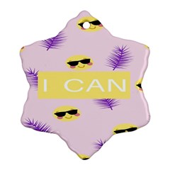 I Can Purple Face Smile Mask Tree Yellow Snowflake Ornament (Two Sides)