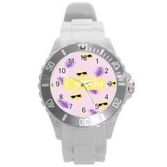 I Can Purple Face Smile Mask Tree Yellow Round Plastic Sport Watch (l)