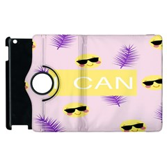 I Can Purple Face Smile Mask Tree Yellow Apple iPad 2 Flip 360 Case