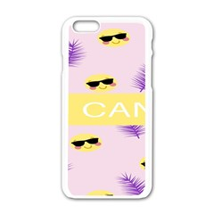 I Can Purple Face Smile Mask Tree Yellow Apple iPhone 6/6S White Enamel Case