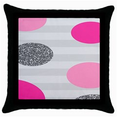 Polkadot Circle Round Line Red Pink Grey Diamond Throw Pillow Case (Black)