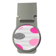 Polkadot Circle Round Line Red Pink Grey Diamond Money Clips (Round)