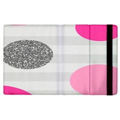 Polkadot Circle Round Line Red Pink Grey Diamond Apple iPad 3/4 Flip Case