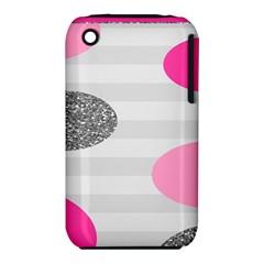 Polkadot Circle Round Line Red Pink Grey Diamond iPhone 3S/3GS