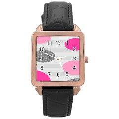 Polkadot Circle Round Line Red Pink Grey Diamond Rose Gold Leather Watch