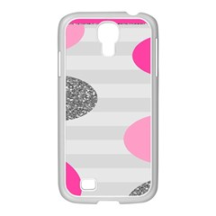 Polkadot Circle Round Line Red Pink Grey Diamond Samsung GALAXY S4 I9500/ I9505 Case (White)