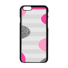 Polkadot Circle Round Line Red Pink Grey Diamond Apple iPhone 6/6S Black Enamel Case