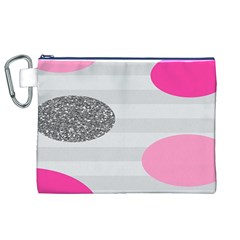 Polkadot Circle Round Line Red Pink Grey Diamond Canvas Cosmetic Bag (XL)