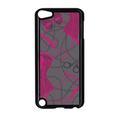 Pink Black Handcuffs Key Iron Love Grey Mask Sexy Apple iPod Touch 5 Case (Black)