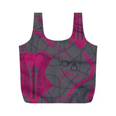 Pink Black Handcuffs Key Iron Love Grey Mask Sexy Full Print Recycle Bags (M)