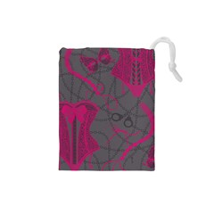 Pink Black Handcuffs Key Iron Love Grey Mask Sexy Drawstring Pouches (Small)