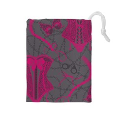 Pink Black Handcuffs Key Iron Love Grey Mask Sexy Drawstring Pouches (Large)