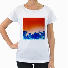 Simulate Weather Fronts Smoke Blue Orange Women s Loose-Fit T-Shirt (White)