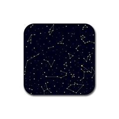 Star Zodiak Space Circle Sky Line Light Blue Yellow Rubber Square Coaster (4 pack)