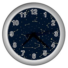 Star Zodiak Space Circle Sky Line Light Blue Yellow Wall Clocks (Silver)
