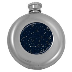 Star Zodiak Space Circle Sky Line Light Blue Yellow Round Hip Flask (5 Oz)