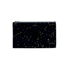 Star Zodiak Space Circle Sky Line Light Blue Yellow Cosmetic Bag (Small)