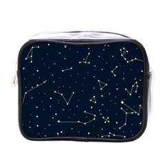 Star Zodiak Space Circle Sky Line Light Blue Yellow Mini Toiletries Bags