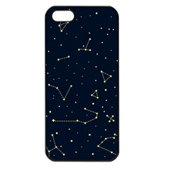 Star Zodiak Space Circle Sky Line Light Blue Yellow Apple iPhone 5 Seamless Case (Black)