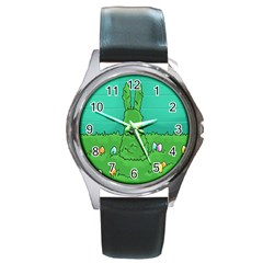 Rabbit Easter Green Blue Egg Round Metal Watch