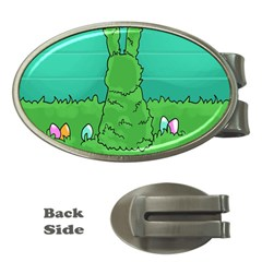 Rabbit Easter Green Blue Egg Money Clips (Oval)