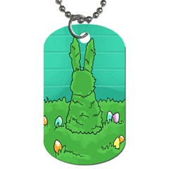 Rabbit Easter Green Blue Egg Dog Tag (Two Sides)