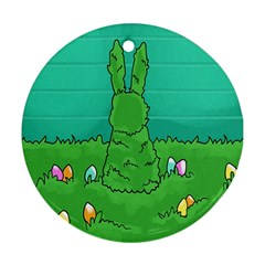 Rabbit Easter Green Blue Egg Round Ornament (Two Sides)