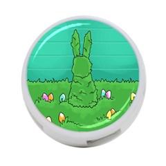 Rabbit Easter Green Blue Egg 4-Port USB Hub (One Side)