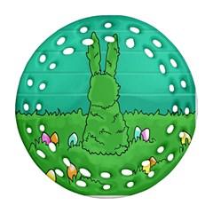 Rabbit Easter Green Blue Egg Ornament (Round Filigree)