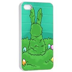 Rabbit Easter Green Blue Egg Apple iPhone 4/4s Seamless Case (White)