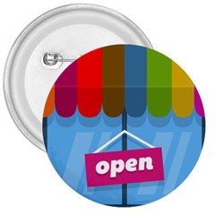 Store Open Color Rainbow Glass Orange Red Blue Brown Green Pink 3  Buttons