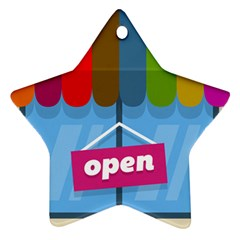 Store Open Color Rainbow Glass Orange Red Blue Brown Green Pink Ornament (Star)