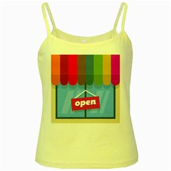 Store Open Color Rainbow Glass Orange Red Blue Brown Green Pink Yellow Spaghetti Tank