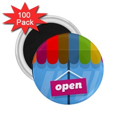 Store Open Color Rainbow Glass Orange Red Blue Brown Green Pink 2.25  Magnets (100 pack)