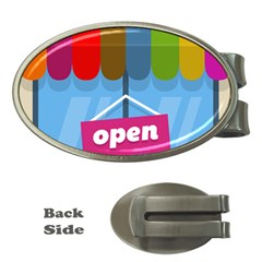 Store Open Color Rainbow Glass Orange Red Blue Brown Green Pink Money Clips (Oval)