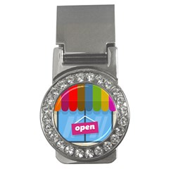 Store Open Color Rainbow Glass Orange Red Blue Brown Green Pink Money Clips (CZ)