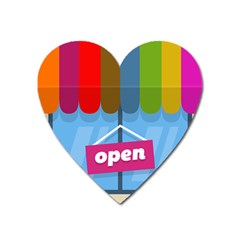 Store Open Color Rainbow Glass Orange Red Blue Brown Green Pink Heart Magnet