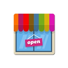 Store Open Color Rainbow Glass Orange Red Blue Brown Green Pink Square Magnet