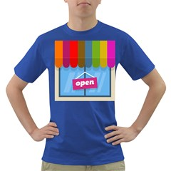 Store Open Color Rainbow Glass Orange Red Blue Brown Green Pink Dark T-Shirt