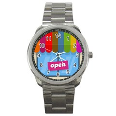 Store Open Color Rainbow Glass Orange Red Blue Brown Green Pink Sport Metal Watch