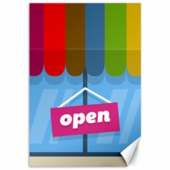 Store Open Color Rainbow Glass Orange Red Blue Brown Green Pink Canvas 12  x 18