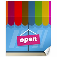 Store Open Color Rainbow Glass Orange Red Blue Brown Green Pink Canvas 16  x 20