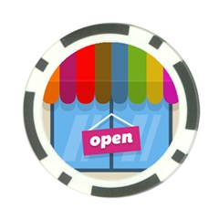 Store Open Color Rainbow Glass Orange Red Blue Brown Green Pink Poker Chip Card Guard