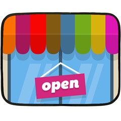 Store Open Color Rainbow Glass Orange Red Blue Brown Green Pink Double Sided Fleece Blanket (Mini)