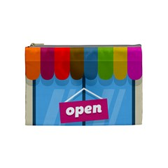 Store Open Color Rainbow Glass Orange Red Blue Brown Green Pink Cosmetic Bag (Medium)