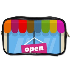 Store Open Color Rainbow Glass Orange Red Blue Brown Green Pink Toiletries Bags 2-Side
