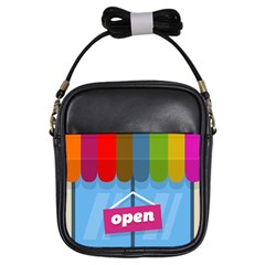 Store Open Color Rainbow Glass Orange Red Blue Brown Green Pink Girls Sling Bags